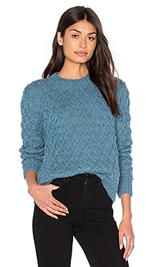 Honeycomb Crew Neck Sweater in Sky Blue