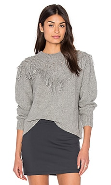 Fringe Sweater in Light Grey
