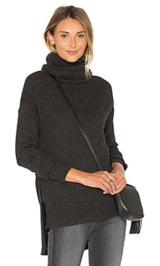 Funnel Neck High Low Sweater in Charcoal