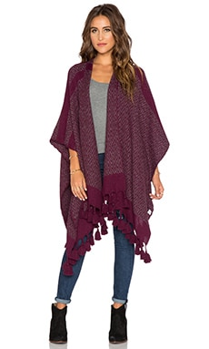 Tejido Diamond Poncho in Wine & Grey