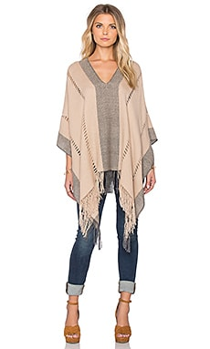 Tejido Honeycomb Pierced Poncho in Tan & Grey