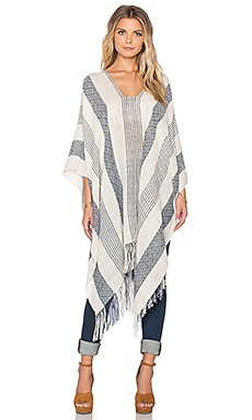 Tejido Line + Diamond Medley Poncho in White & Blue
