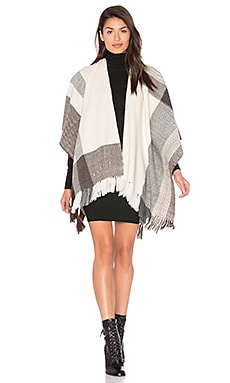 Ruana Plaid Wrap en Cream, Grey & Brown