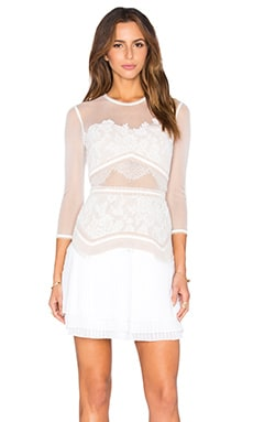 Three Floor Seascape Lace Dress in White & Nude