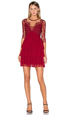 Three Floor Kiki Dress in Bordeaux & Nude