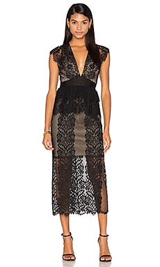 Lace Affair Dress in Black & Nude