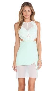 Three Floor Feverish Dress in Mint & White