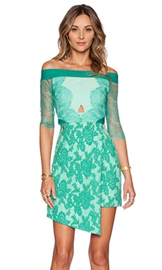 Three Floor Lace Is More Dress in Jungle & Celadon
