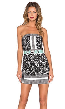 Wasson Strapless Dress in Black & White