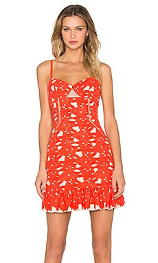 Three Floor Cheeky Summer Dress in Vermillion & Nude