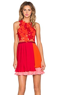 Three Floor Waverly Lace Dress in Cranberry, Vermillion & Flamingo Pink
