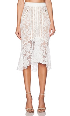 Three Floor Ace of Lace Skirt in White