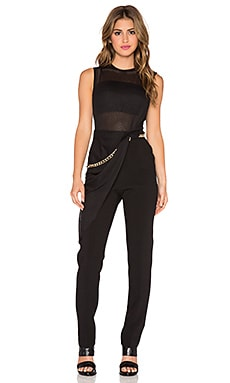 Three Floor Outsmarted Sheer Jumpsuit in Charcoal & Black
