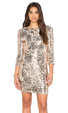 TFNC London Paris Floral Sequin Dress in Gold
