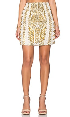 TFNC London Abigail Embellished Skirt in Cream & Gold