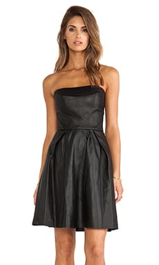 Thakoon Addition Strapless Leather Dress in Black
