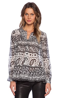 Thakoon Addition Long Sleeve Blouse in Black Multi