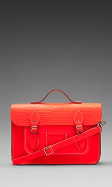 The Cambridge Satchel Company Embossed Stamp Satchel in Fluoro Red ... e29635608d176