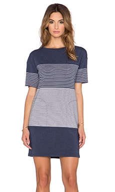 Theory Pelloa Dress in Denim & White