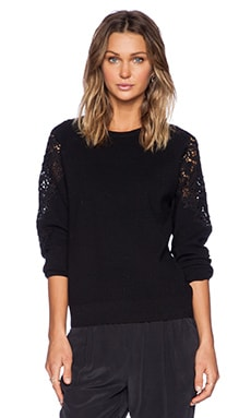 Theory Treston Lace Detail Sweater in Black