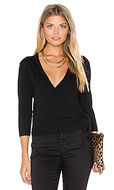Mellia Wrap Sweater in Black