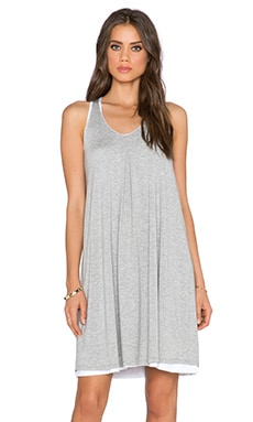 three dots Reversible Trapeze Dress in Grey & White