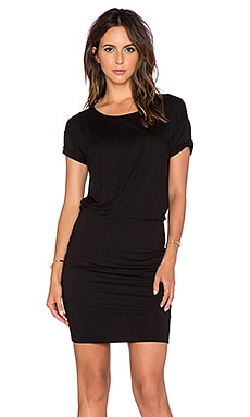 three dots Rolled Sleeve Tucked Dress in Black