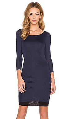 three dots Reversible 3/4 Sleeve Shirred Dress in Night Iris & Black