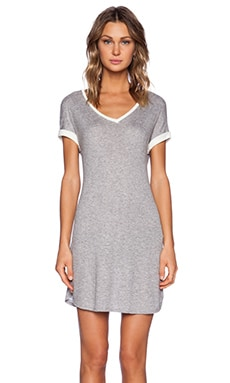 three dots V Neck Dress in Grey & White