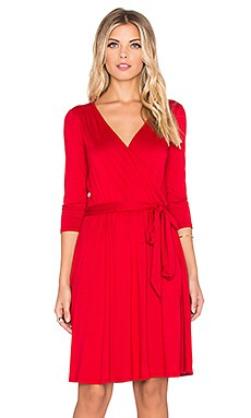 three dots 3/4 Sleeve Wrap Dress in Red Graffiti