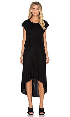 three dots Cap Sleeve High Low Dress in Black