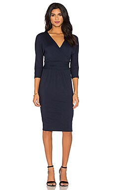 three dots Grete Wrap Dress in Night Iris