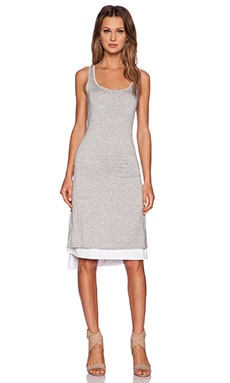 three dots Reversible Asymmetrical Dress in Granite & White