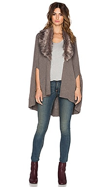 three dots Alex Faux Fur Sweater in Mink