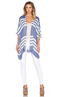 three dots Rosa Cardigan in Surf Blue & White