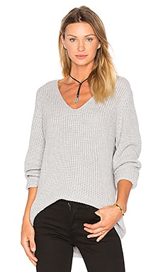 three dots Willa Slouchy V-Neck Sweater in Granite