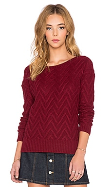 three dots Scoop Back Drop Shoulder Sweater in Brick Stone
