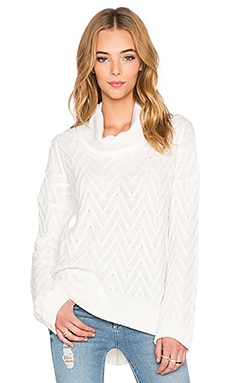 three dots Draped Turtleneck Tunic Sweater in Gardenia