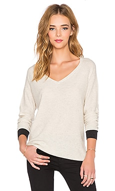 three dots Raglan V Neck Sweater in Sand & Charcoal