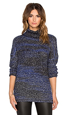 three dots Zipper Funnel Neck Sweater in Night Iris Combo