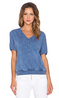 three dots V Neck Dolman Sweatshirt in Blue Jean