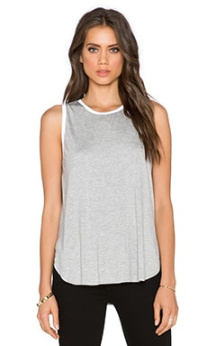 three dots Reversible Sleeveless Tank in Grey & White