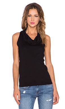 three dots Sleeveless Cowl Neck Tank in Black