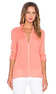 three dots Long Sleeve Button Up in Capri Coral