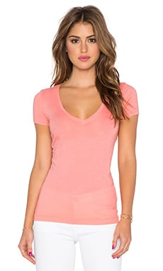 three dots Short Sleeve V Neck Tee in Capri Coral