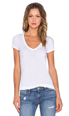 three dots Short Sleeve V Neck Tee in White