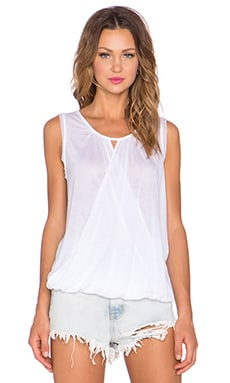 three dots Sleeveless Wrap Tank in White