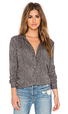 three dots Long Sleeve Classic Button Up in Black Snake Print
