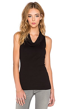 three dots Cowlneck Tank in Black