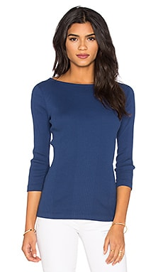 three dots Manuela Rib Tee in Blue Depths